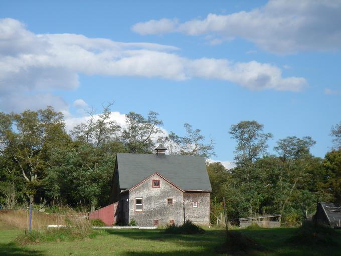 Clear blue skies over the horse barn.  Barn with fields in the foreground.